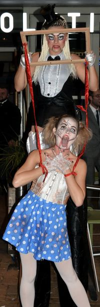 Adults Only Creepy Frightening Full Length Halloween Nighttime Only Women Stilt Walkers Two People