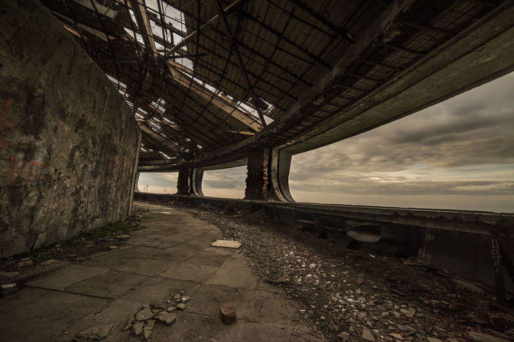 Architectural Column Architecture Built Structure Bulgaria Buzludzha Monument Interior Cloud - Sky Communist Architecture Communist Monument Day Deterioration Diminishing Perspective Low Angle View Nature No People Old Ruined Run-down Sky The Past The Way Forward