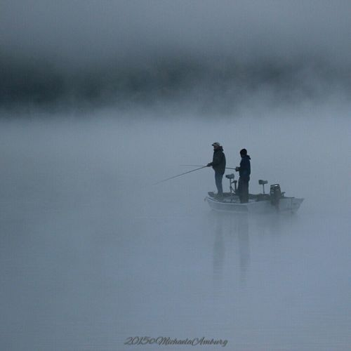 Fishing in the early morning with fog so thick you can barely see. Check This Out Fishing Fishing Boat Fishing Time Fog Fog On The Lake Foggy Morning Enjoying Life Fishermen Fishermen's Life Fishermen's Boats Fishermanslife Fishing Pole Foggy Weather