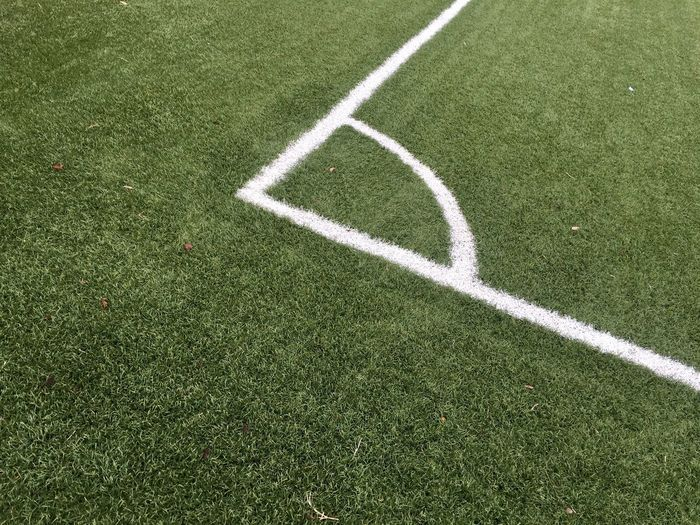 Grass Sport Plant Playing Field Green Color Soccer Field White Color Team Sport No People Day Competition Competitive Sport Single Line High Angle View Outdoors Full Frame