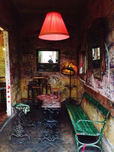 Ruin Pub Ruin Bar Ruined Wall Colors On The Wall  Sewing Machine Tables Big Red Hanging Light Red Lamp Budapest, Hungary The Secret Spaces The Street Photographer - 2017 EyeEm Awards