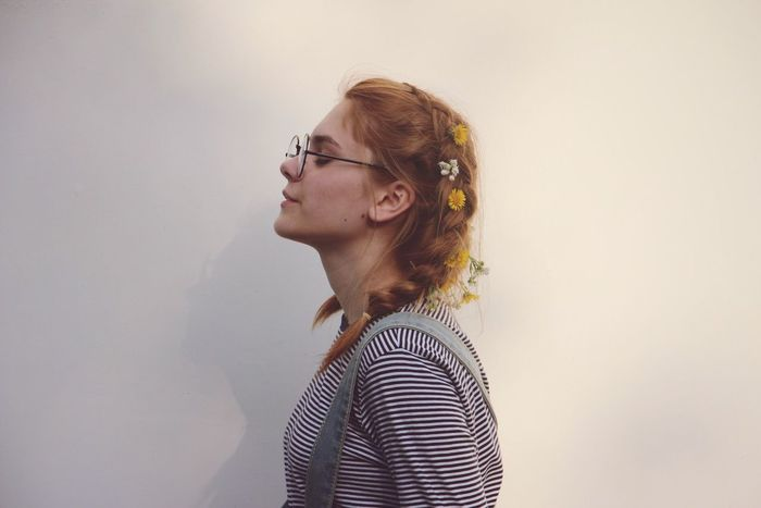 EyeEm Selects EyeEm Selects One Person Striped Young Adult Real People Eyeglasses  Casual Clothing White Background Lifestyles Young Women Indoors  Leisure Activity Home Interior Day Dreaming Tensed Studio Shot Beautiful Woman Blond Hair Day People