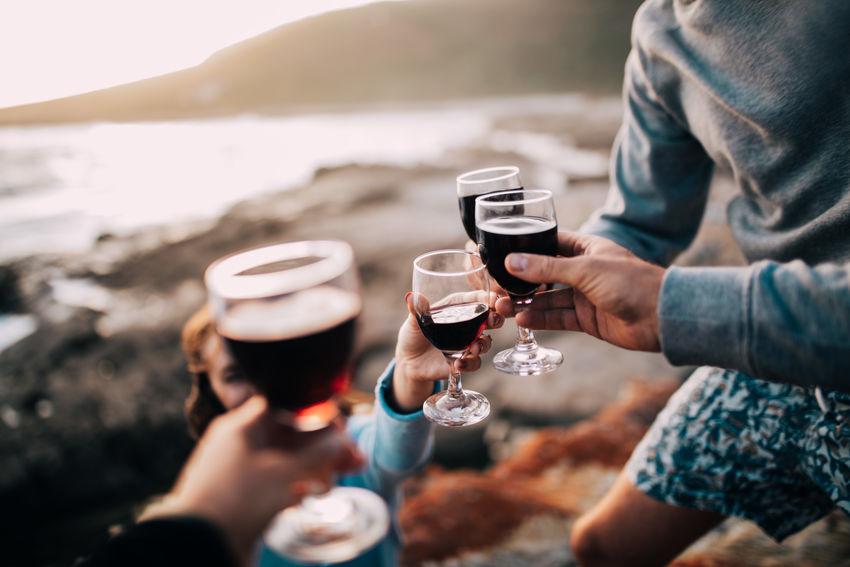 Celebration Coastline Beach Cheers Drink Glass Shore Wine