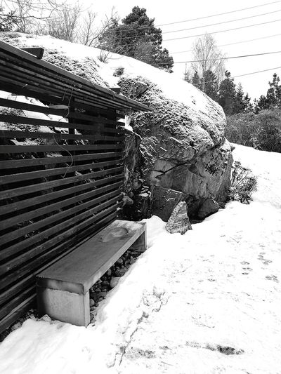 Cold Snow Winter Nature Outdoors No People Day Bench Cold Temperature Rock Concrete Blackandwhite EyeEmNewHere