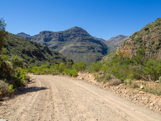 Dirt road and landscape in Cederberg Wilderness Mountain Area, South Africa Cederberg South Africa Beauty In Nature Blue Cedarberg Clear Sky Day Dirt Road Grass Landscape Mountain Mountain Range Nature No People Outdoors Plant Road Scenics Sky Sunlight The Way Forward Tranquil Scene Tranquility Tree Winding Road
