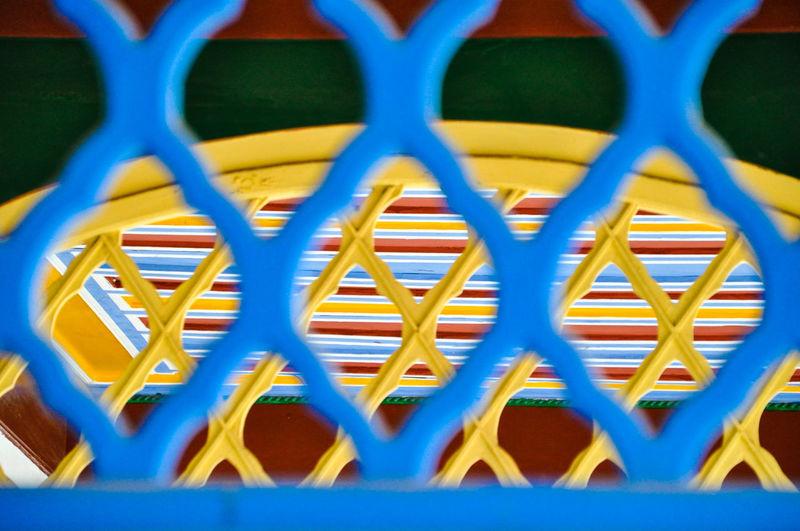 Full frame shot of blue chainlink fence