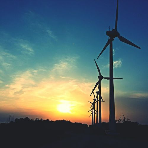 When sun goes down Landscape Holiday Wind Turbine