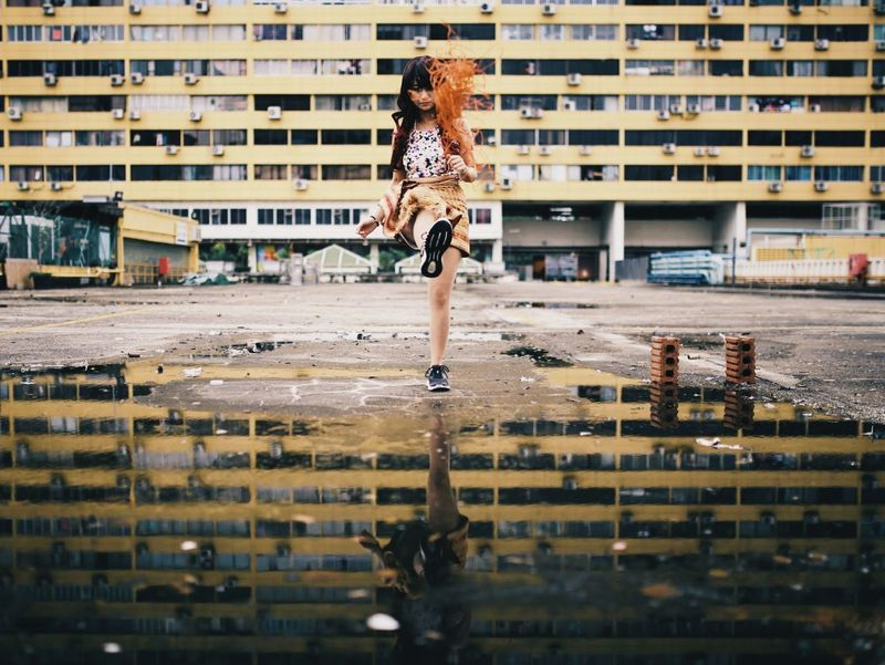 Choose the life you want to live Movement Kick Kicking Puddle Puddle Reflections Puddlegram Reflection Reflection_collection Architecture Architecture_collection Girl Asian  Asian Girl Rebel Rebellion Be Different Bravery Dynamic Portraits Portrait Portrait Of A Woman Portrait Photography Singapore People's Park Complex