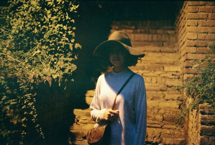 Film Film Photography Filmisnotdead Analogue Photography Night Hat Style Fashion Tree Wearing