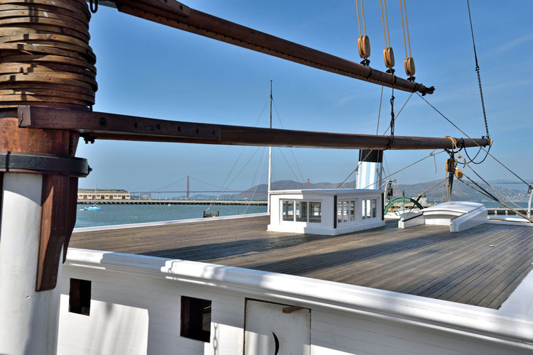 C.A.Thayer At Hyde Street Pier 3 Schooner 1895 3-masted 219 Ft. Length Moored Anchored Hyde St. Pier Museum Ship San Francisco CA🇺🇸 San Francisco National Historic Park Scenic Golden Gate Bridge View From Thayer's Deck Fort Mason Wharf Sailboats Marin Headlands Ships Rigging San Francisco Bay Smoke Stack Historic Ships Lumber Schooner 1895-1912 Alaskan Salmon Fishery 1912-24 Cod Fisherman 1925-30 Ammunition Barge