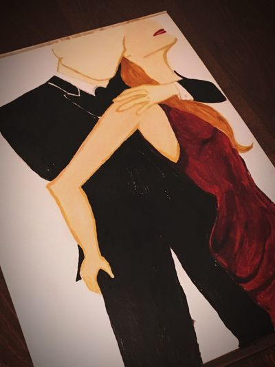 Woman loves a man! A couple from the better times Enjoying Life Elegant Anzug Beziehung Relationship Couple Elegant Red Dress Stunning Inlove Verliebt Amazing Wahreliebe Truelove Gentlemen Lady Old Better Together Love Liebe Kunst Drawing Acryl Representation High Angle View Close-up Paper