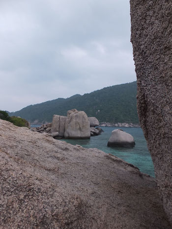 Beauty In Nature Boat Built Structure Cloud Cloud - Sky Day Mode Of Transport Mountain Nature Nautical Vessel Rock - Object Rock Formation Scenics Sea Sky Tranquil Scene Tranquility Transportation Water Waterfront Spotted In Thailand Kohnangyuan