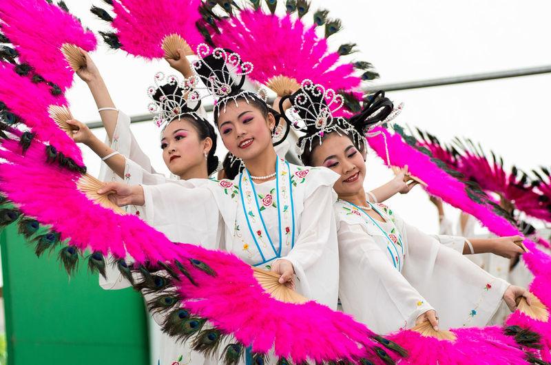 Young Women Tradition Cultures Traditional Clothing Pink Color Festive Dancefest Asian Culture Asian Girls Asian Art Edegem belgium