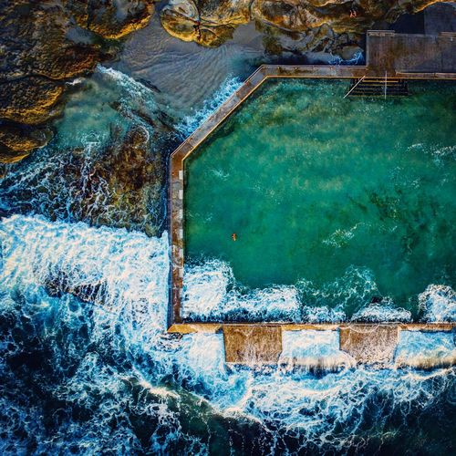 Cronulla Pool Water Day Full Frame No People Nature Backgrounds High Angle View Swimming Pool Pool Outdoors Blue Sea Waterfront Green Color Pattern Reflection Architecture Close-up Textured  Turquoise Colored