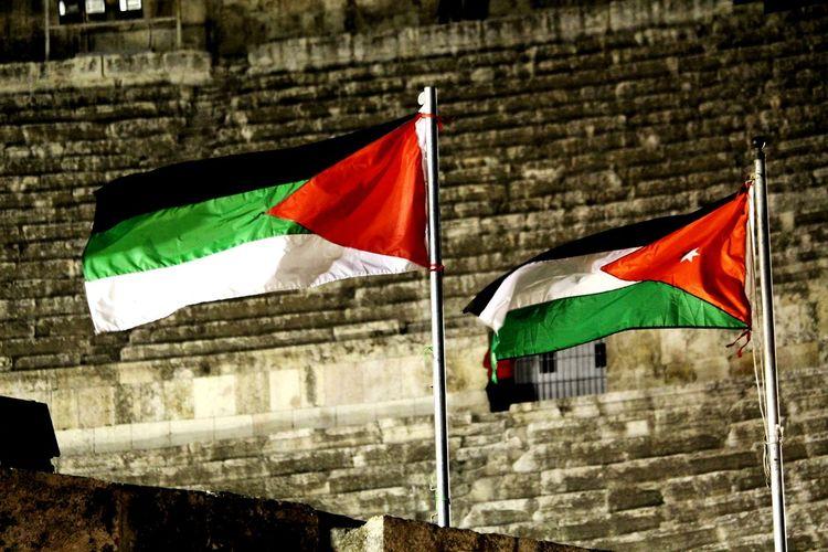 Jordan Flag Jordan Middle East Roman Theatre Flag City Architecture Built Structure Building Exterior National Flag