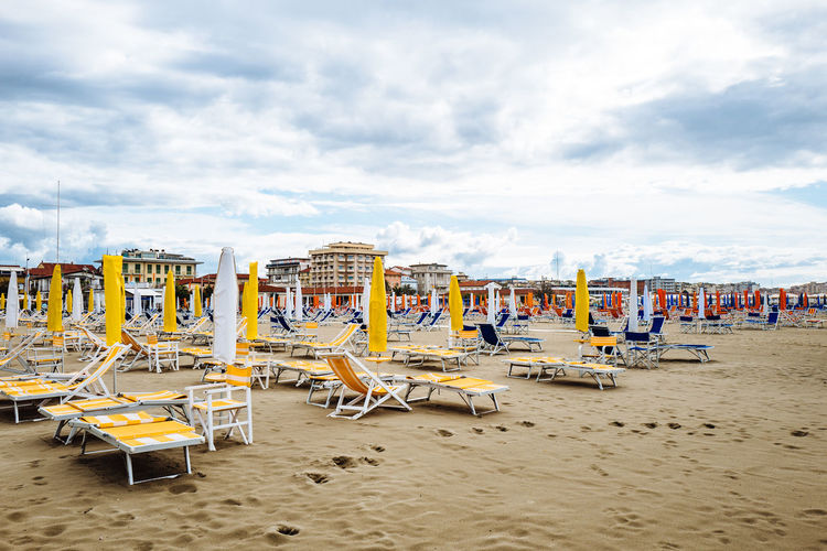 Camaiore Tuscany Absence Beach Chair Cloud - Sky Day Italy Nature No People Outdoors Sand Sea Shore Sky Summer Sun Lounger Vacations Water
