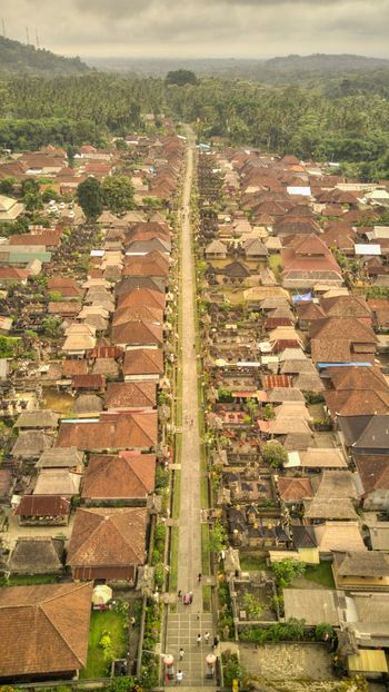 Aerial shot of Penglipuran Village in Bali. Plant High Angle View Architecture Nature Day Building Exterior Built Structure Outdoors Ancient Civilization Bali Penglipuran Pernglipuran Villa Bali Tourism Travel Destinations