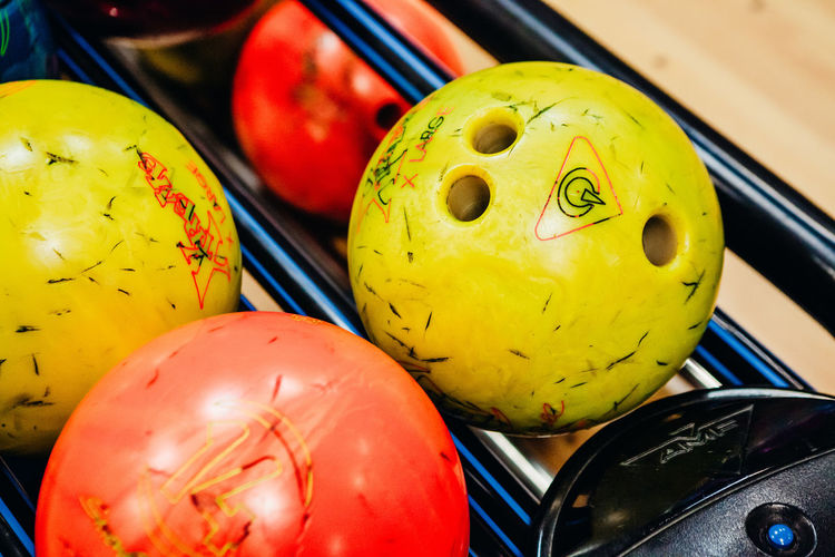 Bowling Bowling Alley Bowling Balls Close-up Day Food Indoors  Multi Colored No People