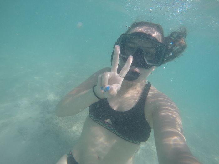 Selfie underwater in bermuda