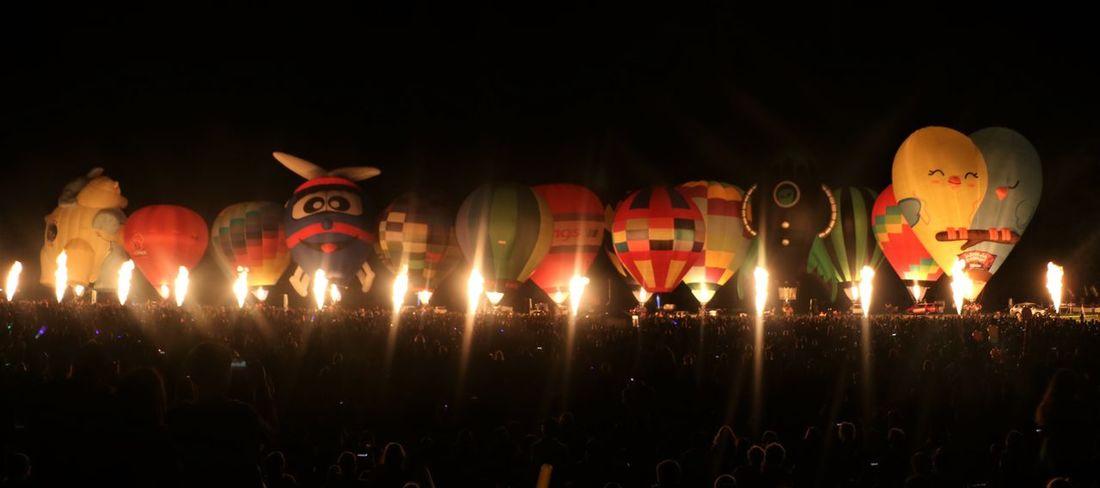 Airtransportation Ballooning Festival Celebration Cheerful EyeEmNewHere Flames Fresh On Eyeem  Hotairballoons Illuminated Inflatables Large Group Of People Leisure Activity Magical Night Nightphotography Outdoors The Photojournalist - 2017 EyeEm Awards