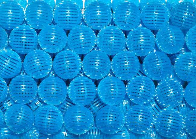 Blue bio balls filter in aquarium Clean Aerator Aquaria Aquarium Assessories Background Ball Bio Biological Blue Bubble Circulate Equipment Filter Fishkeeping Overflow Oxygenated Water Pattern Pet Plastic Refugium Removal Treat Waste