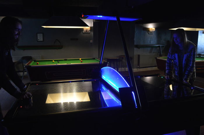 Dark Pub Air Hockey Blue Illuminated Indoors  Night People Real People