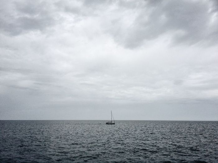 The Quiet. Beauty In Nature Calm Cloud Cloud - Sky Cloudy Day Horizon Over Water Journey Mode Of Transport Nature Nautical Vessel Non-urban Scene Ocean Outdoors Sailboat Sailing Scenics Sea Seascape Sky Tranquil Scene Tranquility Transportation Water Waterfront