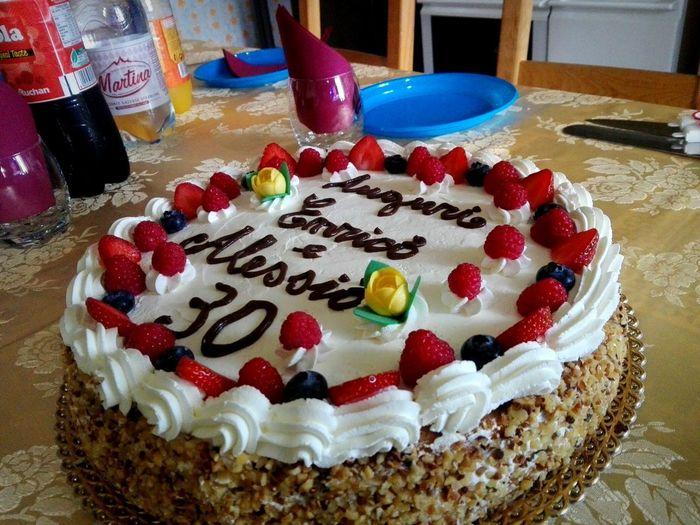 Dessert Dessert Topping Birthday Cake Table Celebration Tart - Dessert Cake Fruit High Angle View Text Fruitcake Cream Chocolate Cake