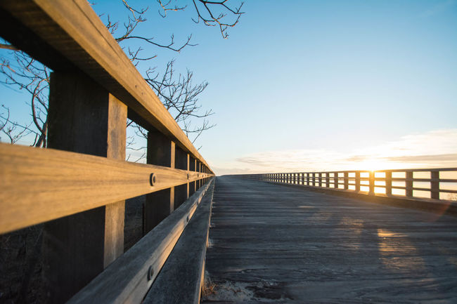 Architecture Atlanta Beach Boardwalk Bridge Bridge - Man Made Structure Diminishing Perspective Dux Long New England  No People Ocean Powder_Point Powder_Point_Bridge Railing Sun Vanishing Point W Wood Working World_recor
