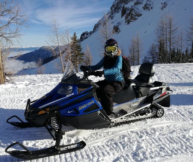 Snow Winter Cold Temperature One Person Motion Full Length Day Leisure Activity Winter Sport Outdoors Snowboarding Sport Young Adult Adults Only Speed Adult People Adventure Sitting One Woman Only Snowmobiling Snowmobile Snowmobile Riding Canada150 British Columbia Canada