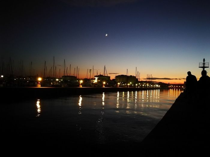 molo nord Cervia Boats⛵️ Water City Sea Sunset Silhouette Reflection Beach Sky Moon
