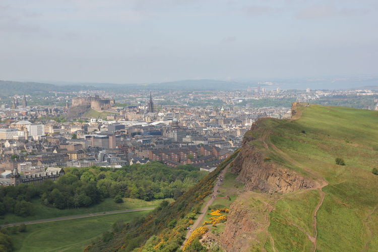 Arthur's seat - View over Edinburgh Aerial View Beauty In Nature City Life Cloud Country Road Countryside Day Dirt Road Green Green Color High Angle View Landscape Long No People Outdoors Remote Residential District Road Scenics Sky Solitude The Way Forward Tranquil Scene Tranquility Trekking