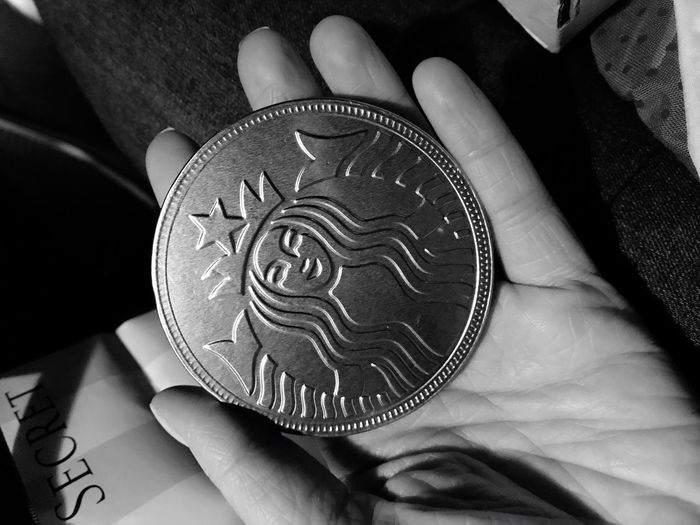 Blackandwhite Black & White Blackandwhite Photography Black And White Photography Human Hand Human Body Part One Person Holding Real People Indoors  Unrecognizable Person Pattern Food And Drink Men Close-up Food One Man Only Day Ready-to-eat People Adult Starbucks Coin Chocolate Black And White Friday