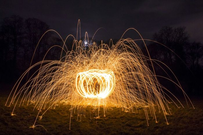 Steelwool Fireworks Clouds And Sky Night