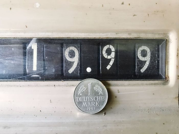 Vintage Retro Old Deutsche Mark Currency German Currency Coin Price Cash Register Number Communication Wall - Building Feature Close-up No People Metal Text Day Sign Indoors