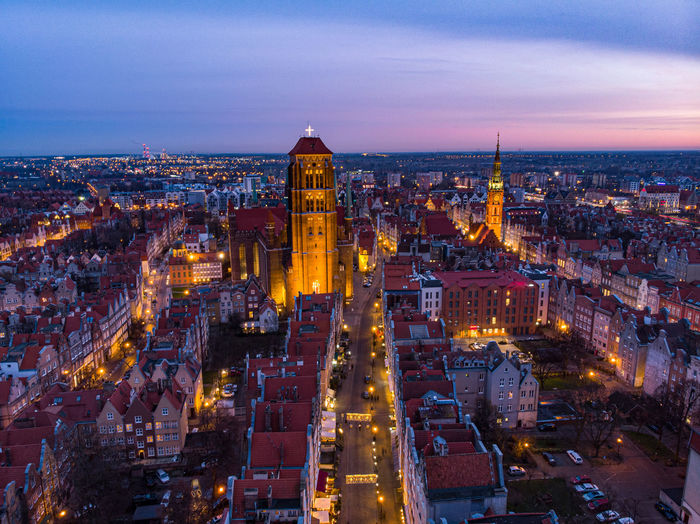 Gdansk old town at evening