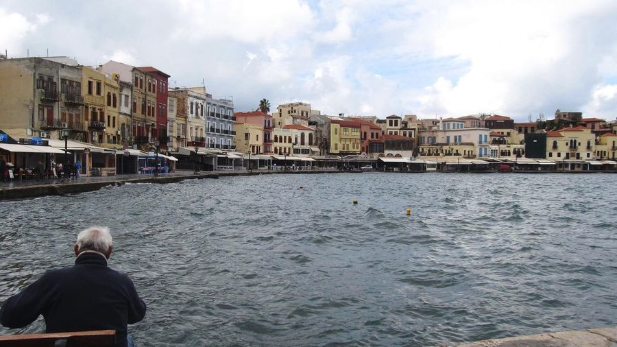 Chania Old Port Crete Greece Tot Winter Nice View Buildings Sea And Sky