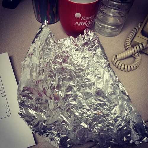 There WAS some bacon on this foil that I was going to take a pic of and caption with some witty comment about swine and breakfast of champions and such, but before I knew it I had eaten it all. HappyFriday Bacon Breakfastofchampions ItsMyAnniversary