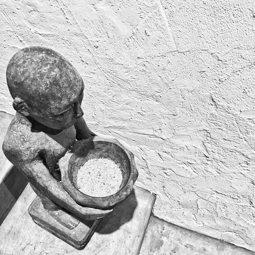 """""""They told me to pour my heart into everything I do. So that's what I did, I poured and poured and poured and poured. Now they ask me why I am so empty."""" ~Anonymous IPhoneography Blackandwhite Indoors  Mobilephotography Black And White Photography Iphonephotography Eyeem Philippines Object Photography Iphone6sphotography Statue High Angle View Pinto Art Museum Pintoartmuseum"""