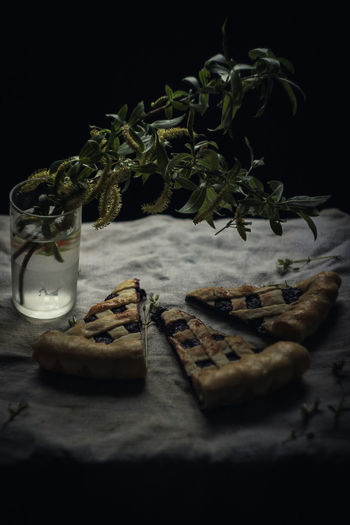 Still life. Pie. Currant pie. Spring still life. Food And Drink Food Freshness Table Indoors  No People Still Life Selective Focus Close-up Cookie Drink Leaf Plant Part Plant Baked Ready-to-eat Container Spice Black Background Sweet Food Glass Temptation