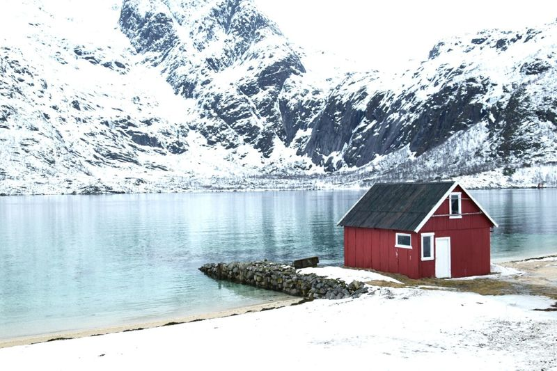 Snow Cold Temperature Winter Mountain Tranquility Mountain Range Water Beauty In Nature Norway Landscape Lofoten Islands Lofoten Landscape_Collection Landscape_photography Norway Nature Nature_collection Outdoors Tranquil Scene Architecture Non-urban Scene
