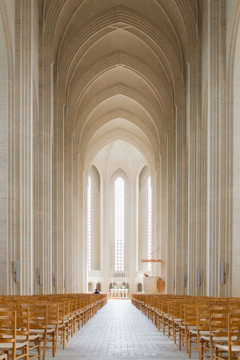 Aisle Architectural Feature Architecture Architecture And Art Ceiling Church Church Diminishing Perspective Geometric Shape Indoors  Interior Long Pew Place Of Worship Religion Spirituality Symmetry Tranquility