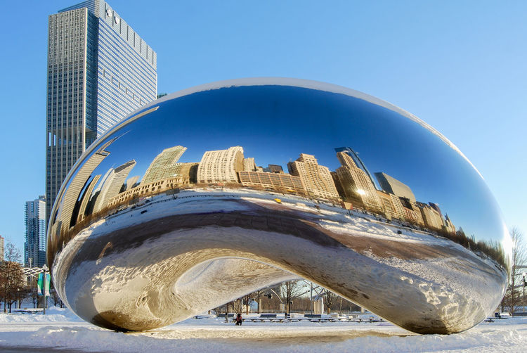 The Cloud Gate (called The Bean) in Chicago's Millennium Park in Winter. Architecture Art Installation Blue Chicago Chicago Skyline Chicago ♥ City Cityscapes Cityscapes_collection Cloud Gate Chicago Day Millennium Park Modern Reflection Reflection_collection Reflections Skyscraper The Bean Chicago Tourism Travel Travel Destinations Travel Photography Urban Exploration Winter Winter In Chicago The Architect - 2017 EyeEm Awards