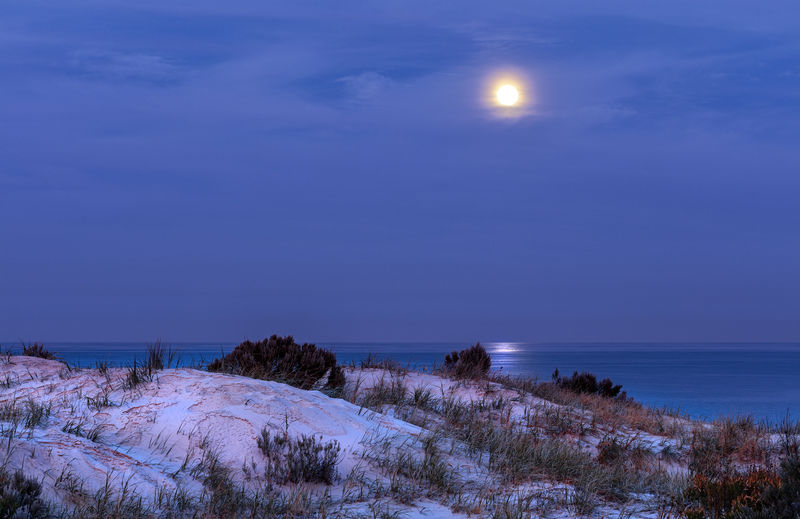 Beauty In Nature Horizon Over Water Moon Moonlight No People Outdoors Sea Sky Tranquil Scene Tranquility Water