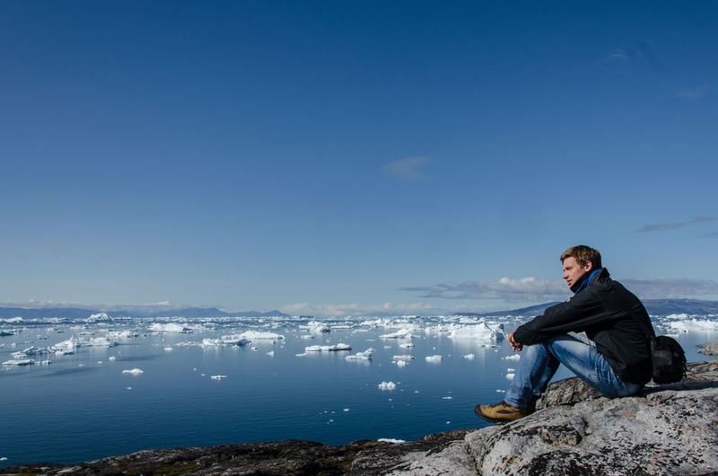 Arctic Explore Greenland Hike Iceberg Landscape Male Model Ocean Panorama Portrait Sea Traveling