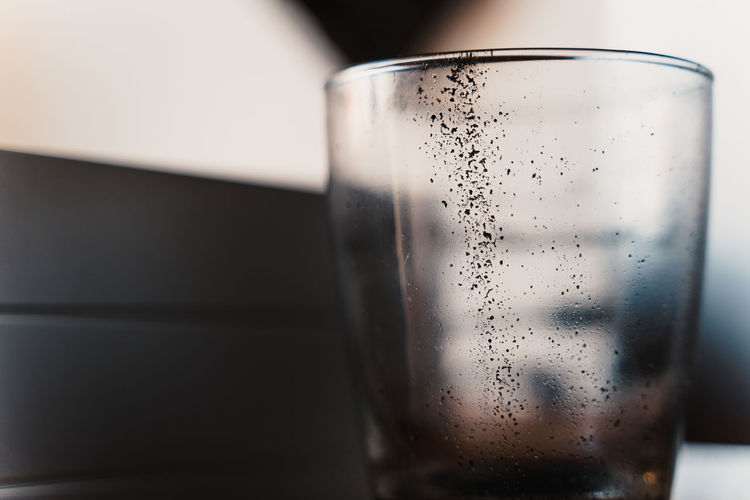 Coffee Stains Bubble Carbonated Close-up Condensation Crockery Drink Drinking Glass Focus On Foreground Food And Drink Freshness Glass Glass - Material Household Equipment Indoors  No People Refreshment Selective Focus Still Life Table Transparent Water