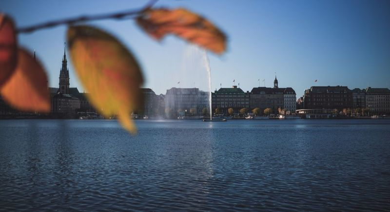 EyeEmNewHere Jungfernstieg Architecture Building Exterior Built Structure Water Waterfront River Outdoors No People City Day Sky Nature Herbst Autumn Fall Politics And Government Rathaus Beauty In Nature Bokeh Deutschland Germany Be. Ready.