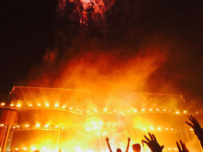 Music Brings Us Together Music Concert Ultra Music Festival Croud Fireworks Fire Arts Culture And Entertainment Orange Color Burning