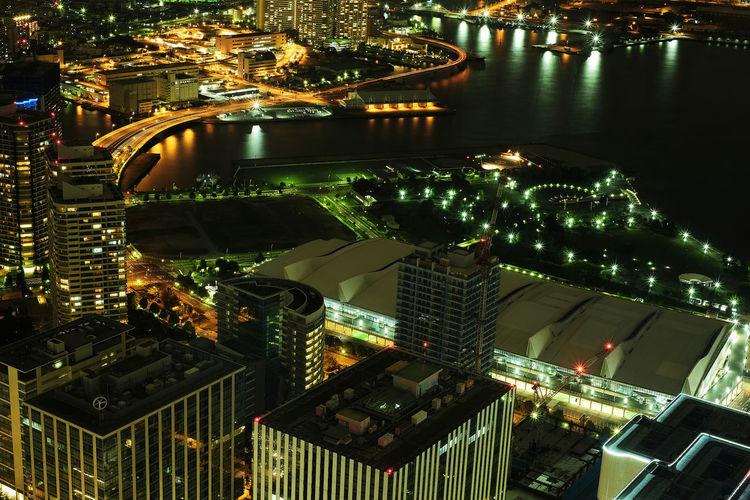 Aerial View Architecture Bird's Eye View City Cityscape Minatomirai Modern Night No People Sky Skyscraper Urban Skyline
