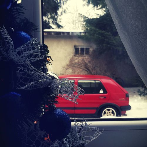 Car Window Land Vehicle VW Golfmk2 Golf2 Christmastime Christmas